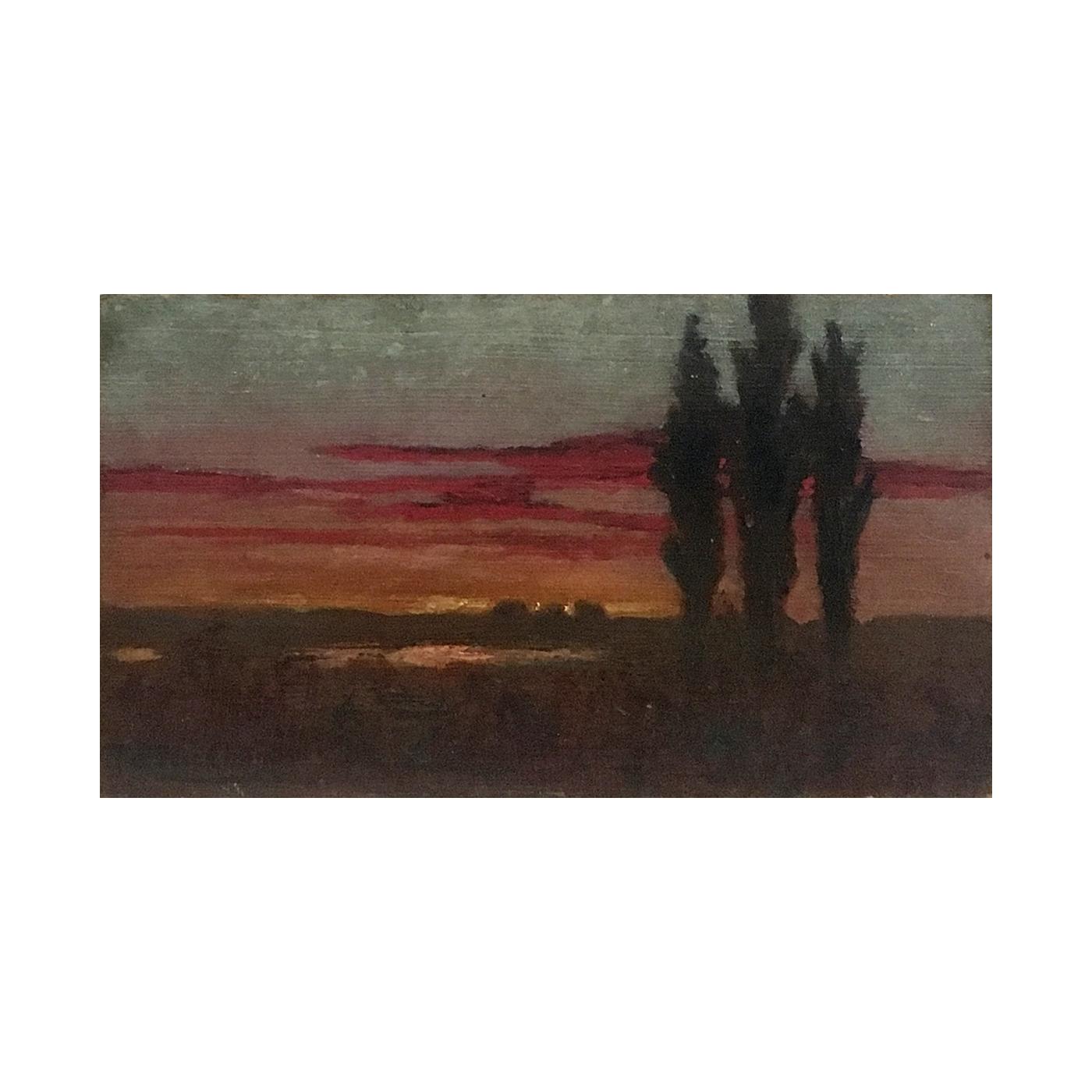 Augusto Alfredo Carman Castro [1881-1963] landscape painting Puesto de sol en la laguna, J. V. Des Champs [Sunset at the lagoon, J V Street], ca.1930s.