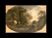 English school Romantic landscape The leaning oak, 1883.