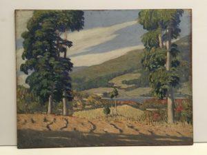 "Angel Domingo Vena [1888 - 1963] Argentina impressionist artist ""Lake with mountain vista"" 1923"