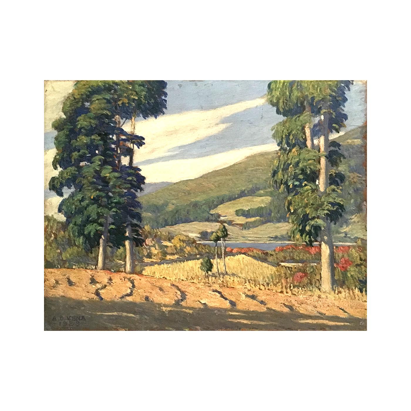Angel Domingo Vena [1888-1963] Argentina impressionist artist Lake with mountain vista, 1923.