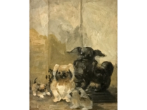 Ida Pulis Lathrop [1859-1937] American artist Study for pugs, ca.1920s.
