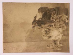 "Ida Pulis Lathrop [1859 - 1937] American artist study for ""Pugs"" ca.1920's"