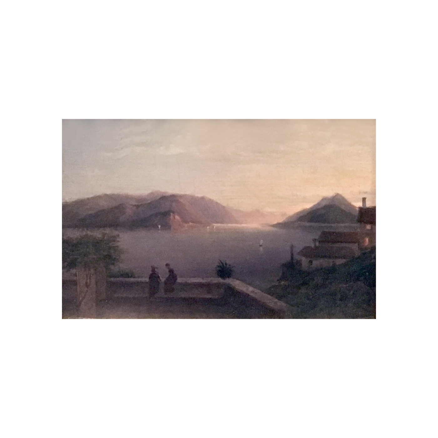 School of Caspar David Friedrich [1774-1840] : Figures on a patio at sunset, ca.1800s.