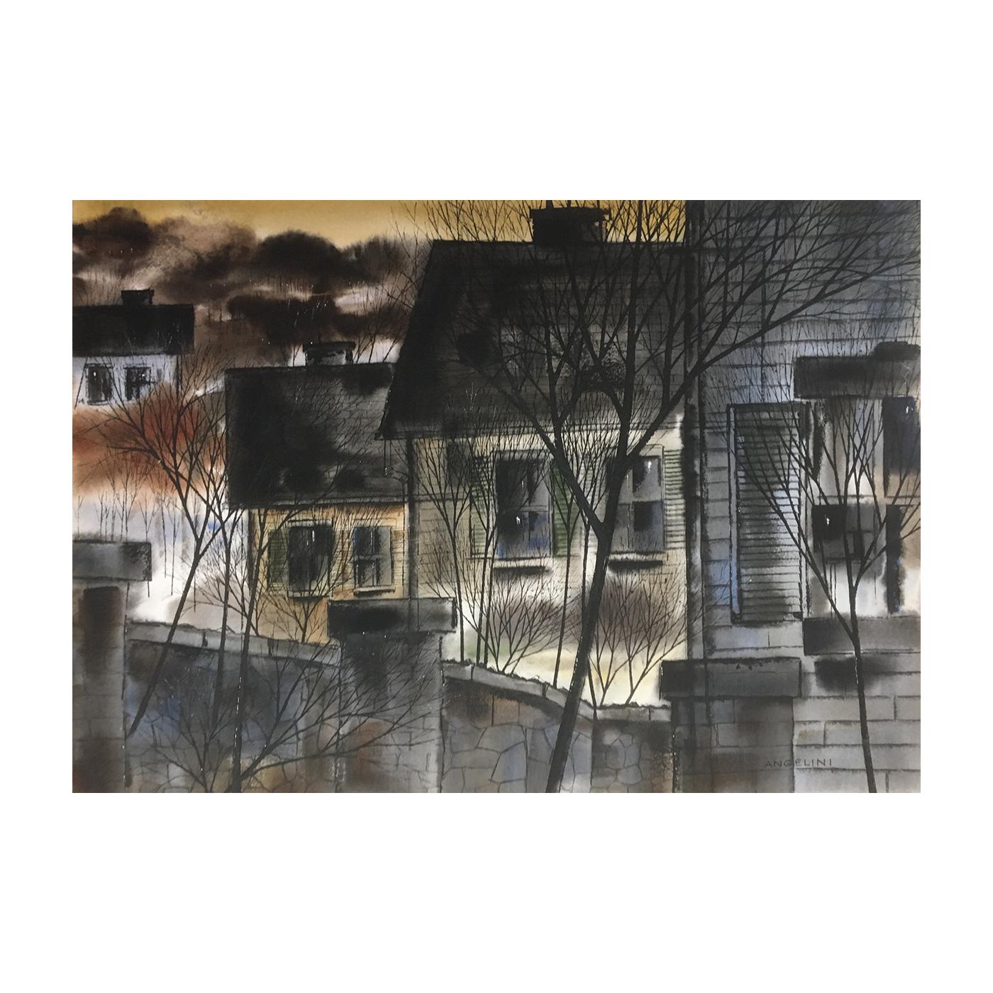 "John Michael Angelini [born 1921] American ""Drifts ;Bloomfield, New Jersey"" ca.1973"