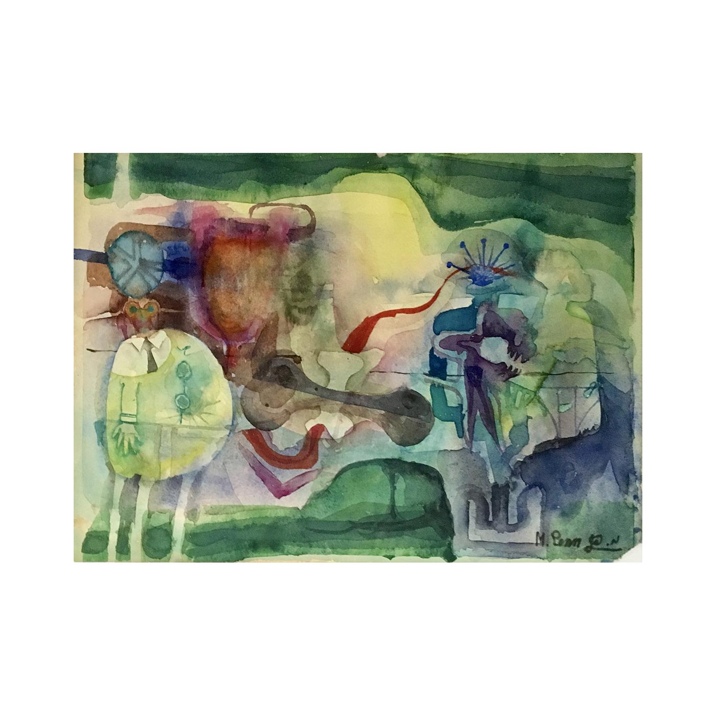"Mordechai (Moti) Penn [b.1938- ] Israeli artist  ""Abstract with figures"", 1979."