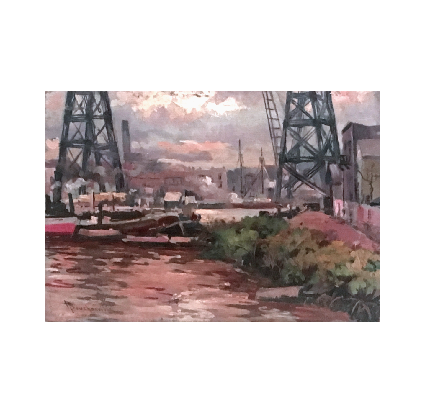 F Bouchonville [early 20th-century] industrial painting The port, ca.1920s.