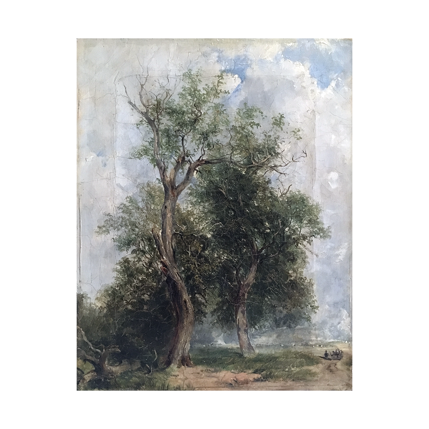 English Romantic landscape Ancient duo, ca.1866.