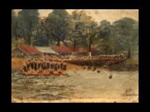 American school folk art : Swimming at camp, circa 1890.
