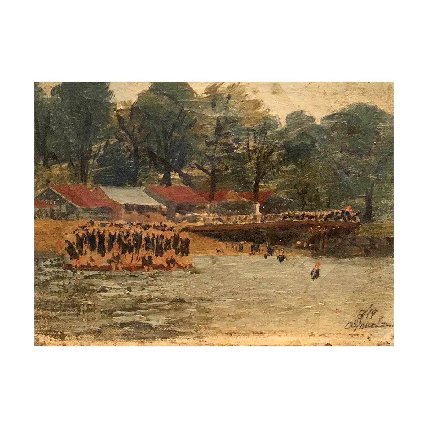 American school folk art : Swimming at camp, circa 1890.