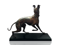 Arthur Waagen [1833-1898] bronze : The whippet, circa 1860.