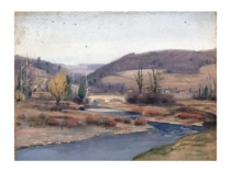 Clifford H. Merritt [1884-1962] Pennsylvania landscape painting : Windham center, PA, ca.1920s.