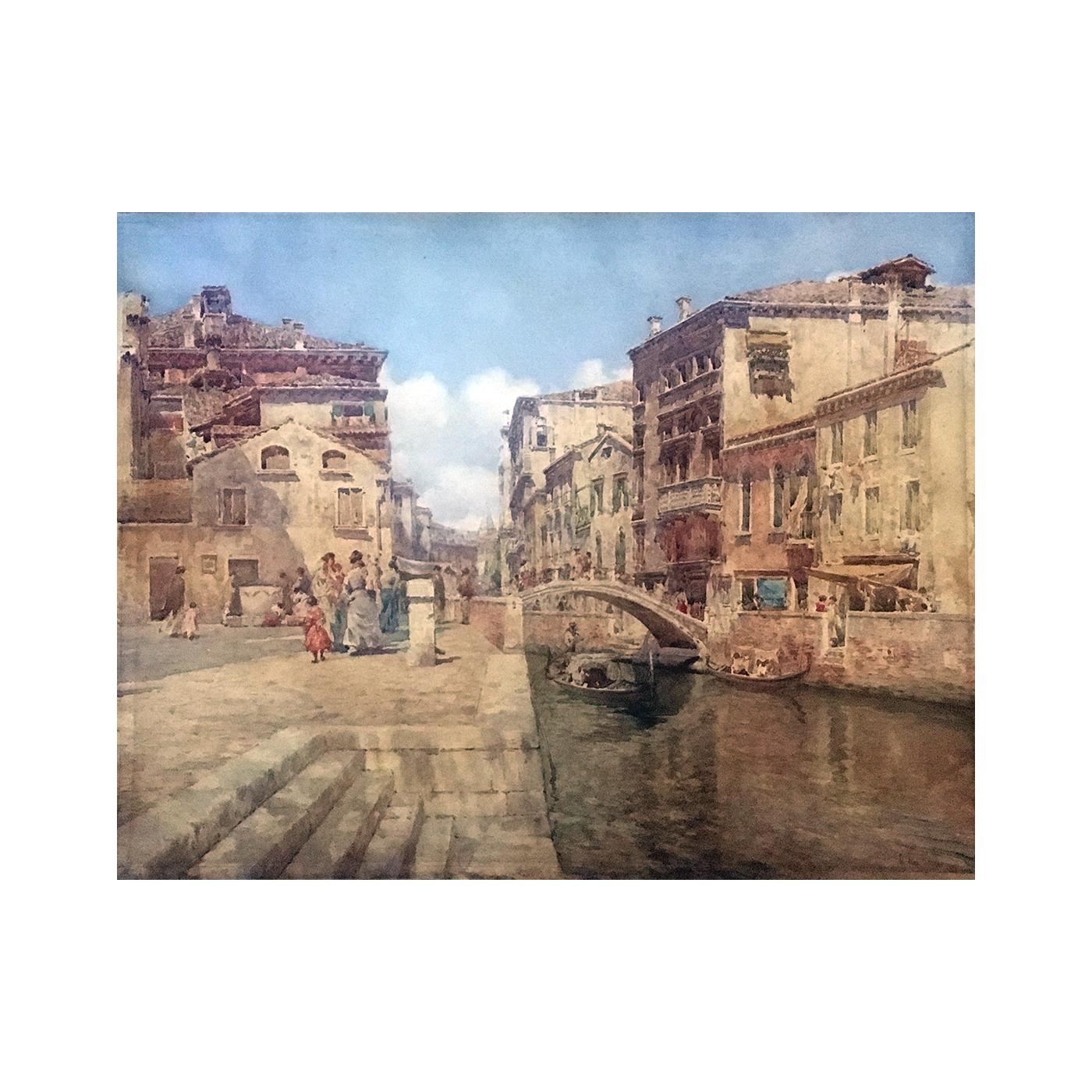 Italian school watercolor landscape : Venice, circa 1880.