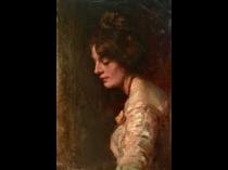 Italian school impressionist : Portrait of a young woman, 1888.
