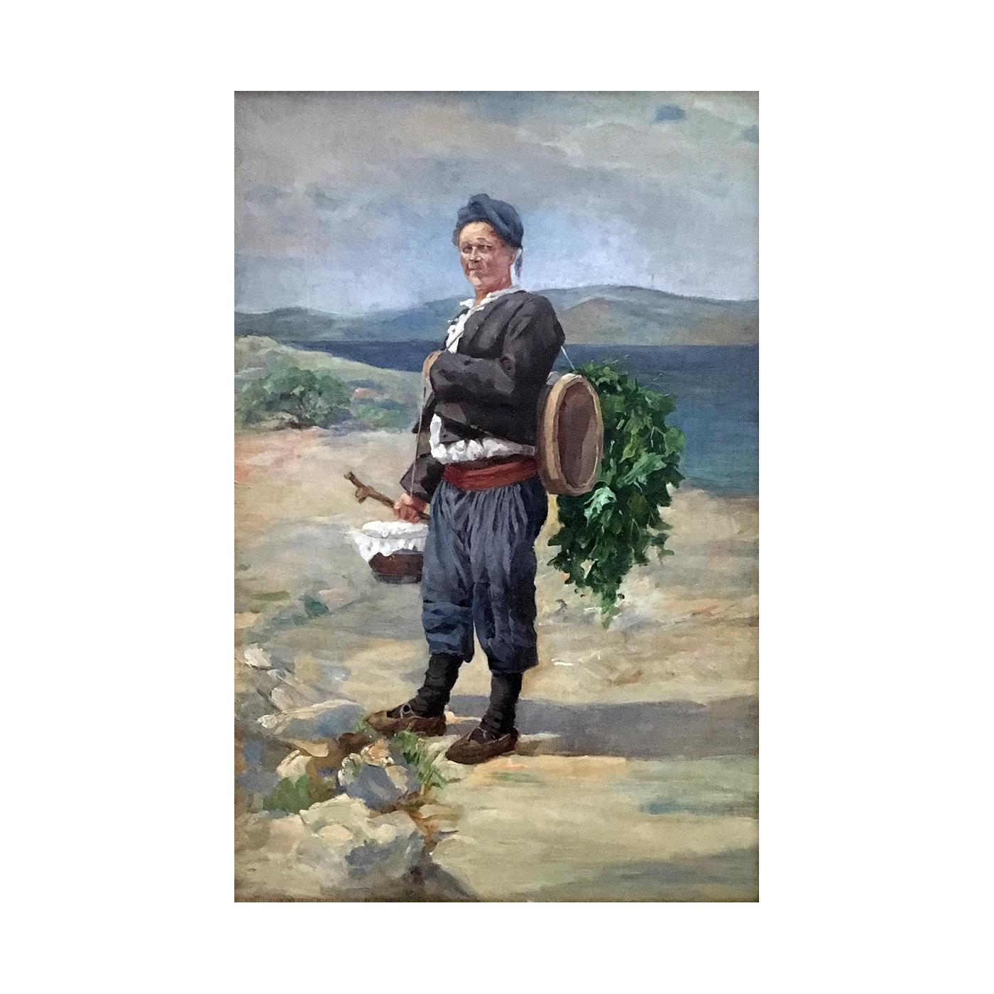 Orientalist painting : The Crete grape leaf harvester, ca.1910.