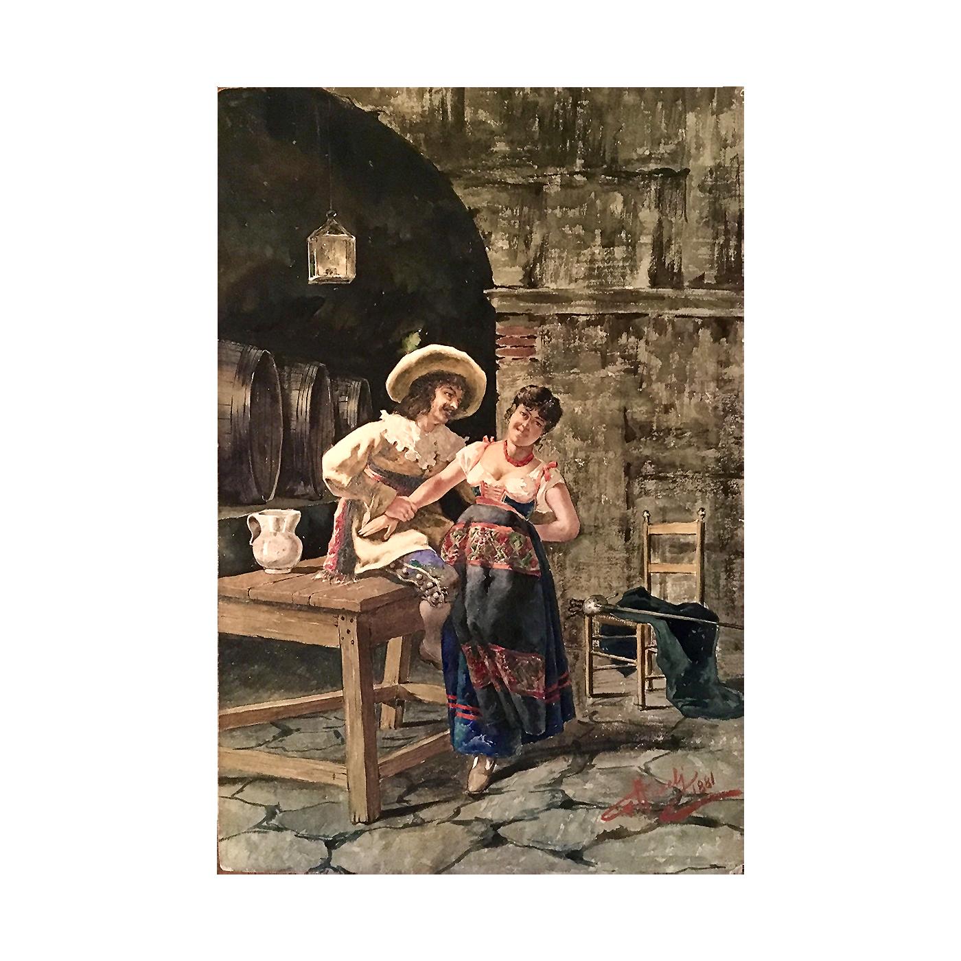 Giuseppe Aureli [1858-1929] Italian : Romance in the wine cellar, 1881.