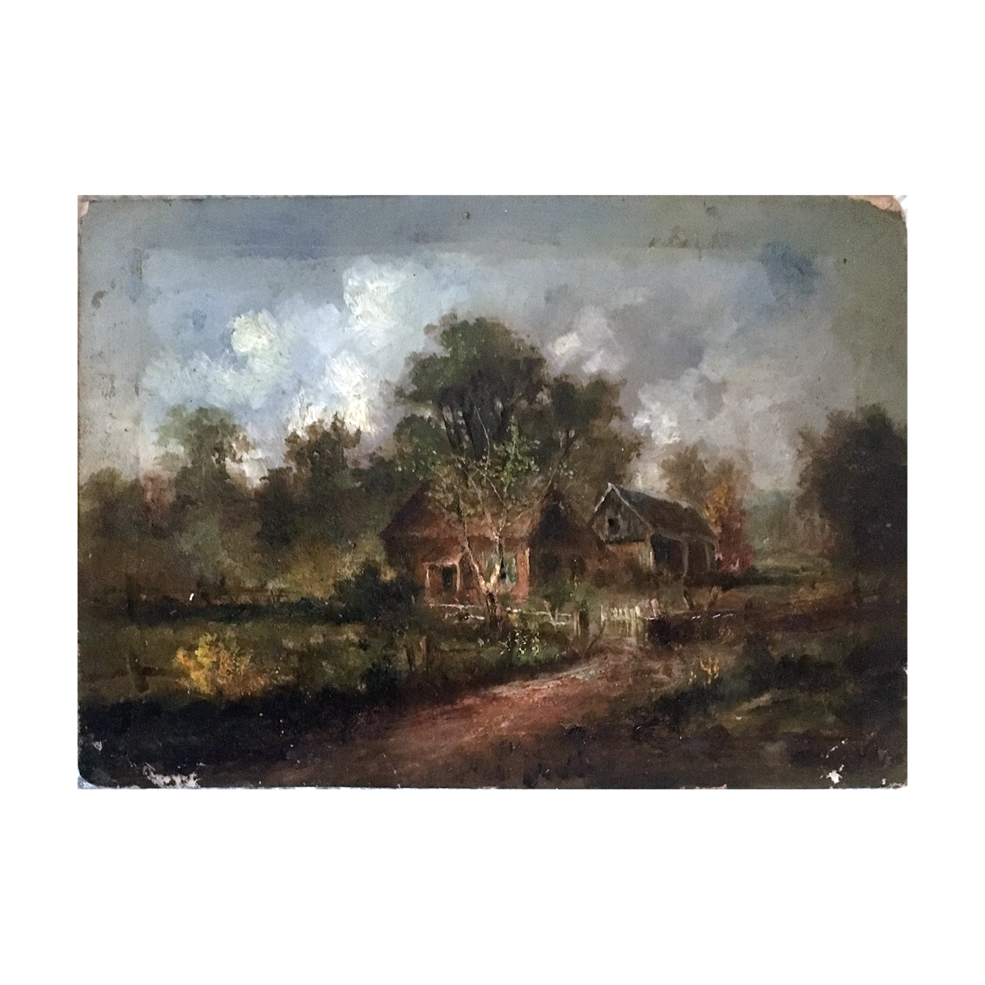 American school landscape : House in a field, ca.1850.