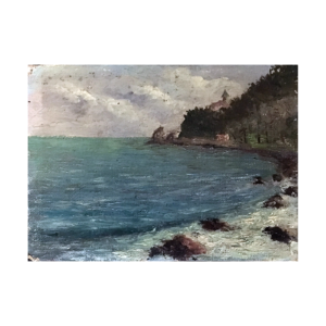 Realistic waterscape : A rocky coast, early 20th-century.