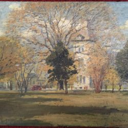 American school landscape painting : The town green, ca.1920.
