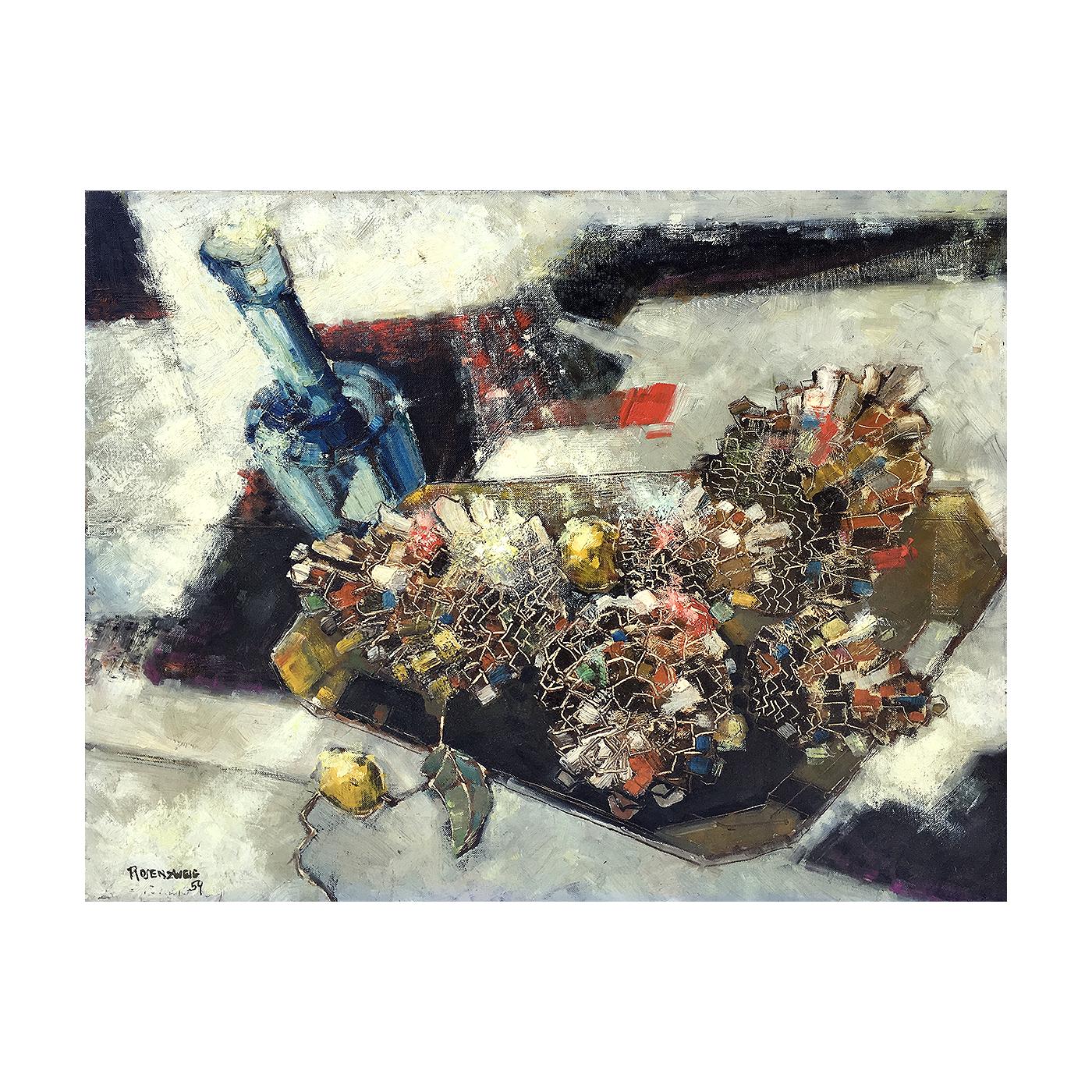 Irving Rosenzweig [1915-ca.1983] abstract still life : Beaded fruit, 1959.
