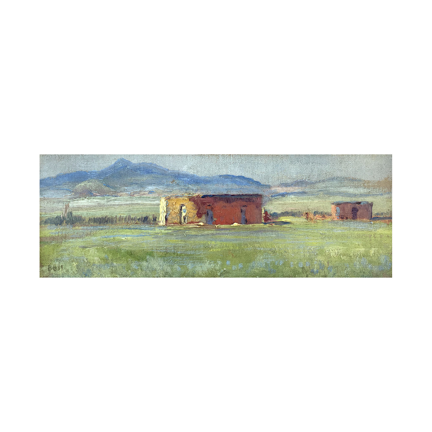 American western Texas painting : An adobe jacal in the Macta Ranche country, 1928.