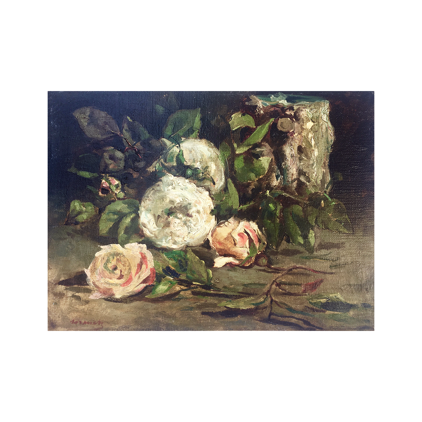 French school : Roses, ca.1880.