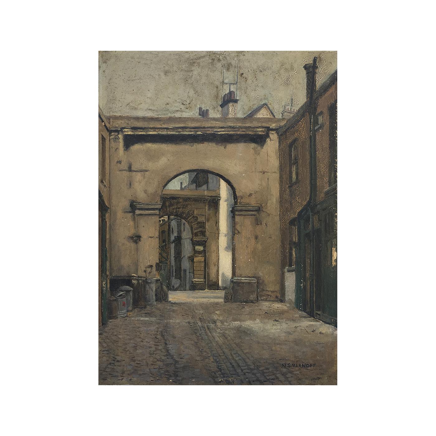 N. Smirnoff [early 20th century] realist painting : The alleyway, ca.1910.