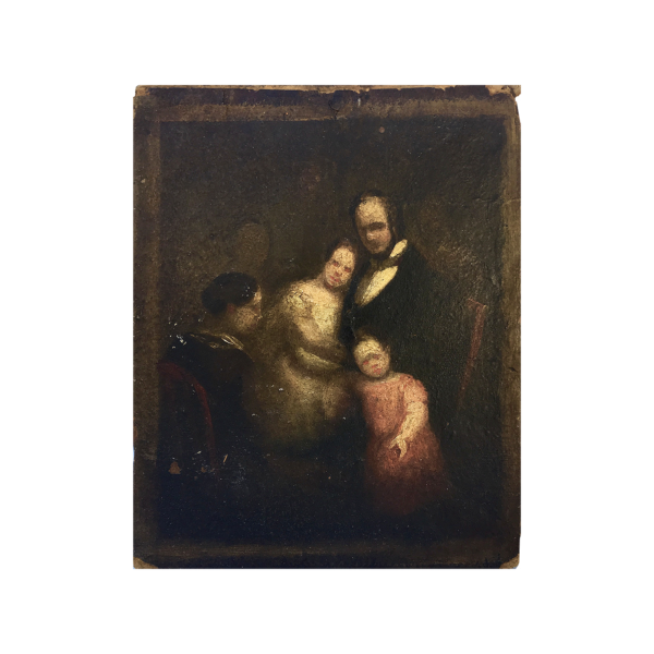 [unattributed] Spanish The rabbi's family, ca.1830 Oil on paper/on board 11-1/2 x 9 inches Signed and inscribed at lower left-middle : '[illegibly]'.