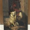 American school animal painting : Barnyard friends, ca.1900.