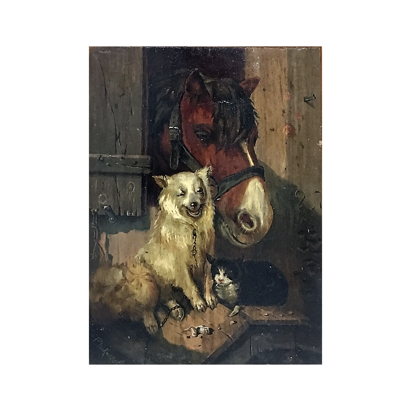American school animal painting : Barnyard friends, ca.1900.