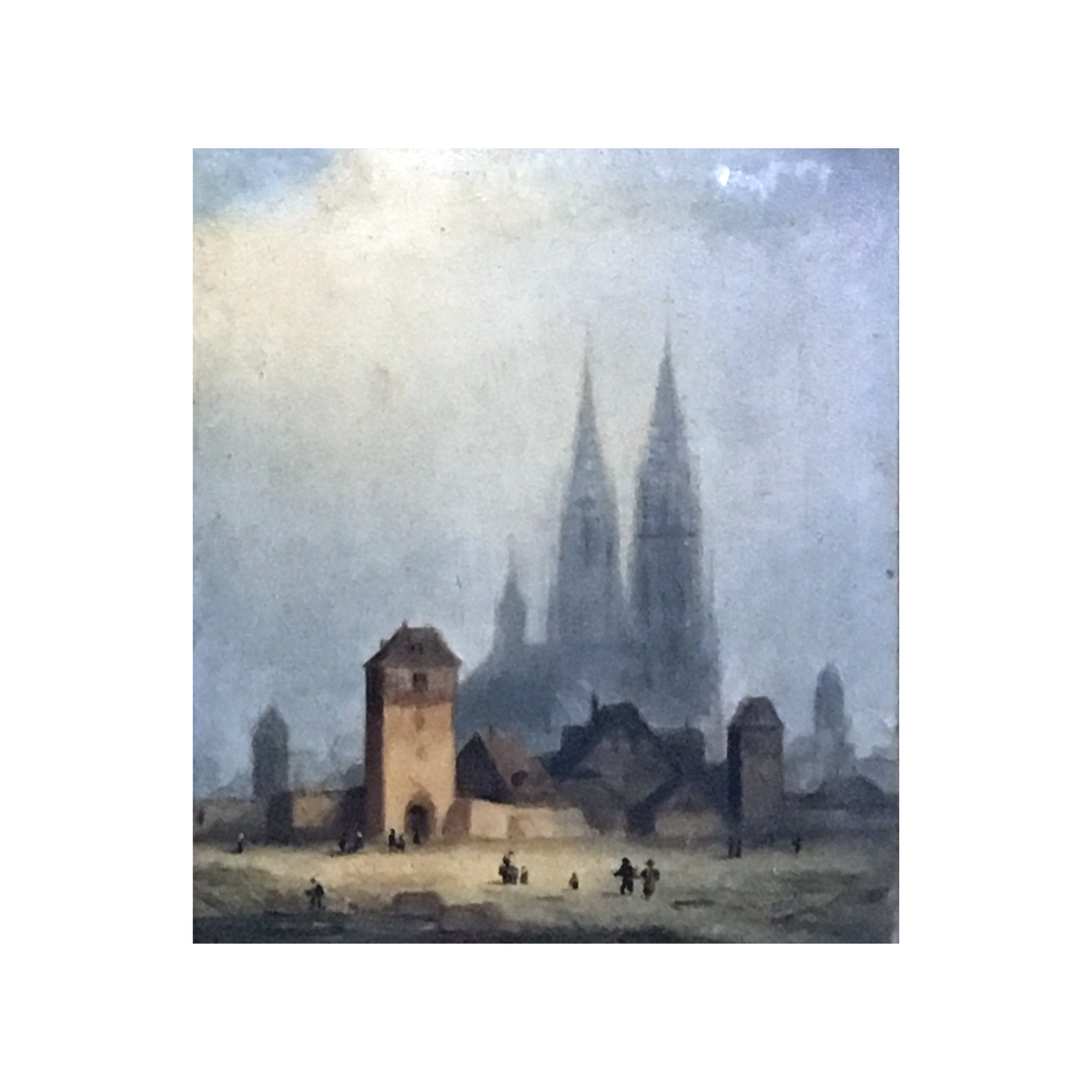French school cityscape painting : Chartres Cathedral and Fort de Chartres, ca.1860.