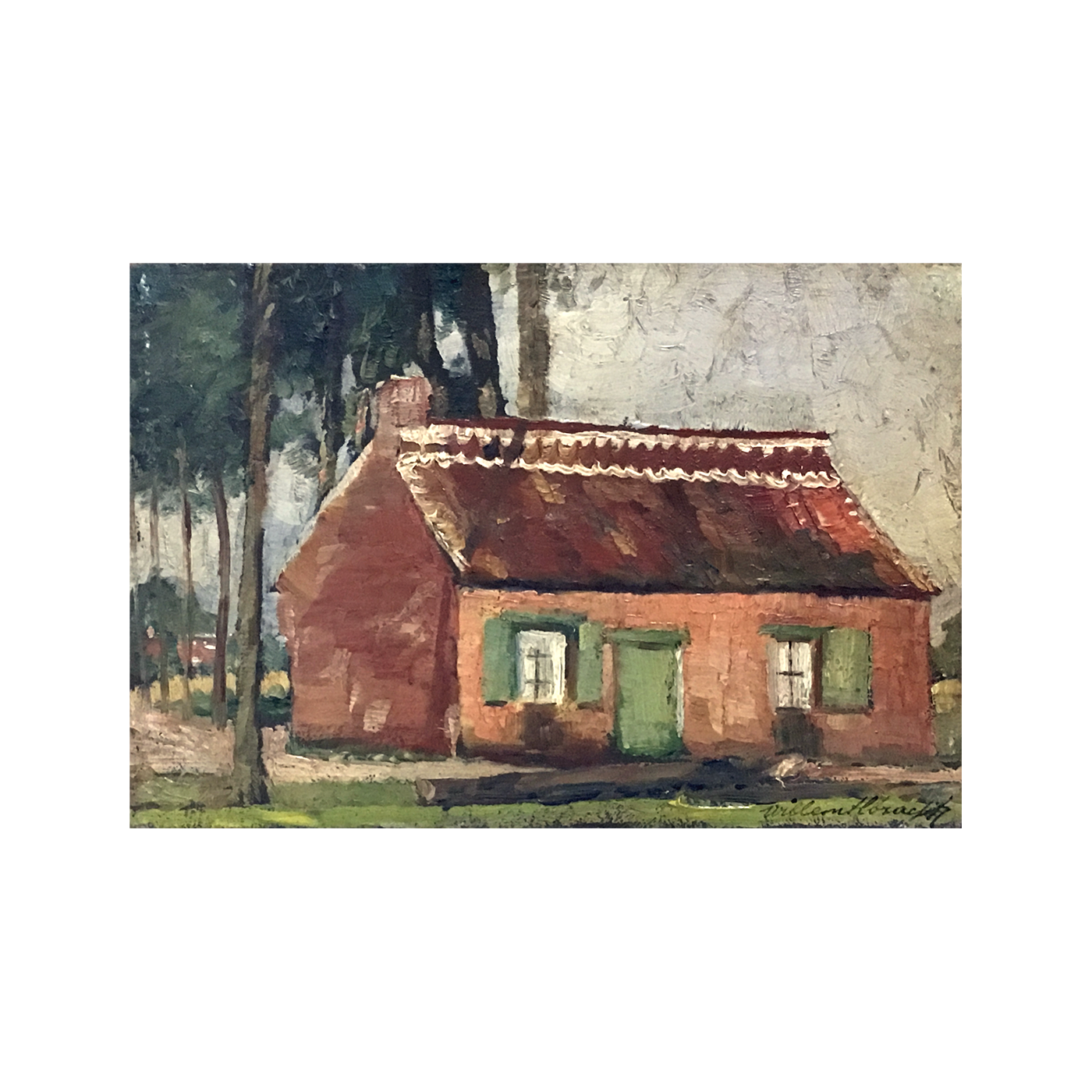 naive painting : The country house, ca.1900
