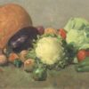 American school still life painting : Still life with vegetables, ca.1940s.