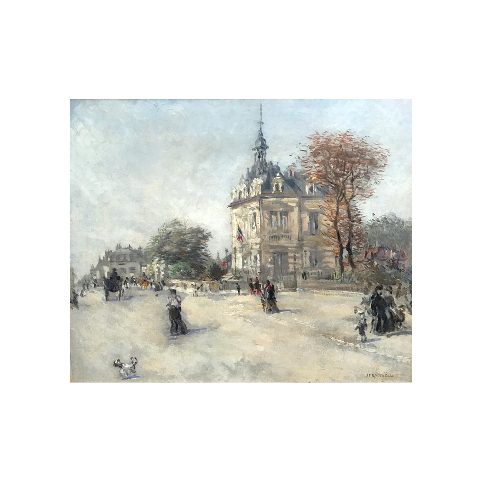 Jean Francois Raffaëlli [1850-1924] : Paris Tuileries garden (La Louvre), ca.1872.