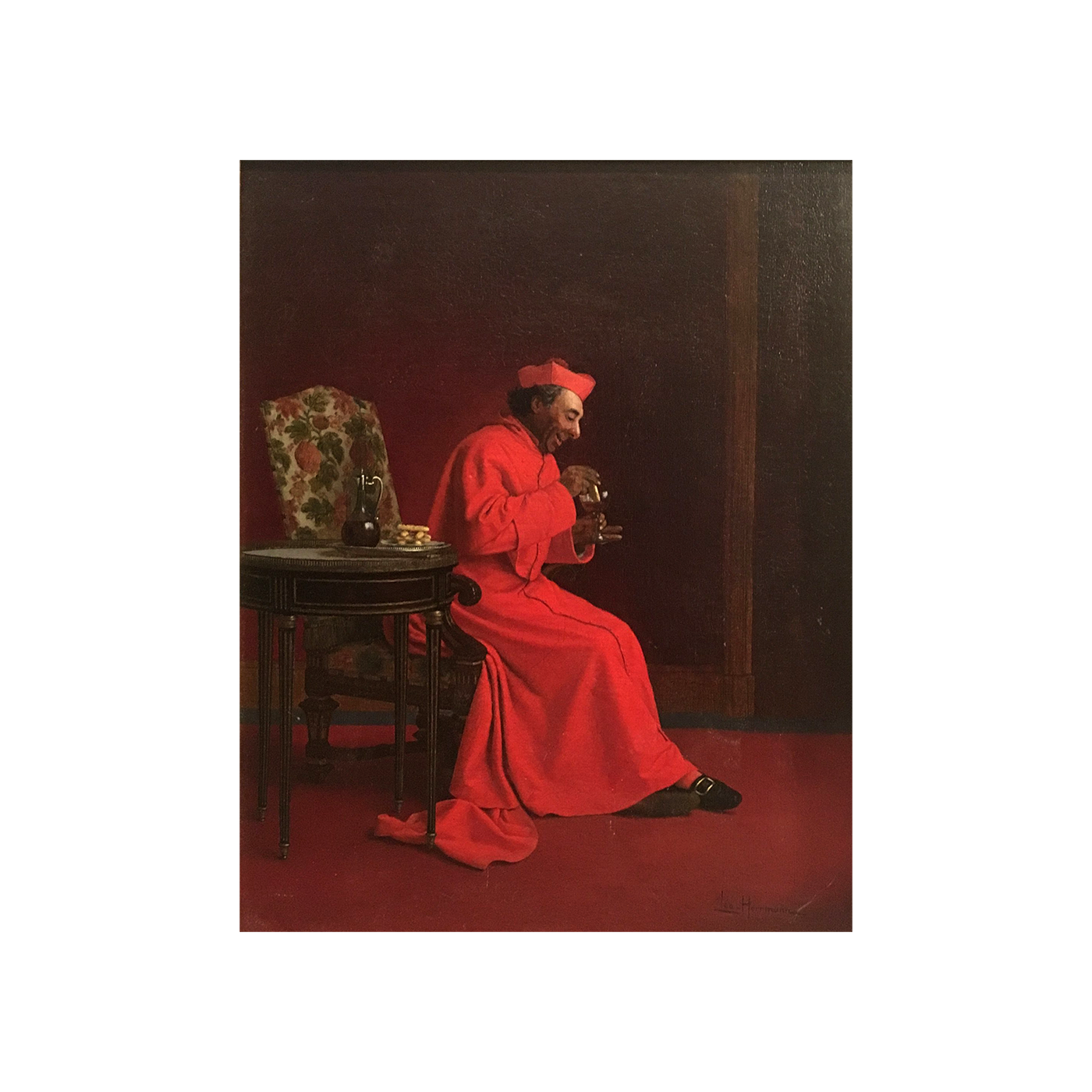 Leo Herrmann [1853-1927] religious painting : The cardinal dipping wafers into wine, ca.1882-1888.