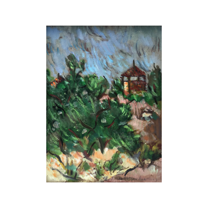 """American Abstract Landscape """" House on the Hill """" circa 1945"""