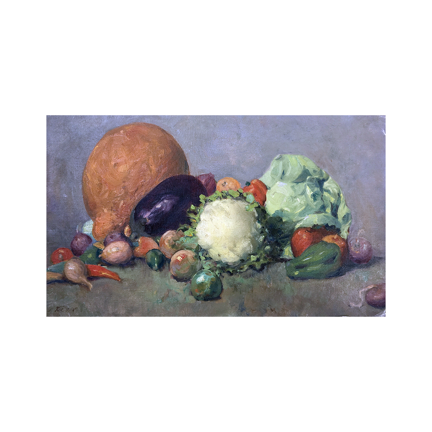 American school still life painting : Still life with vegetables, ca.1940s.