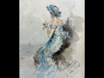 "American/English School ""Woman at the Shore"" circa 1880"