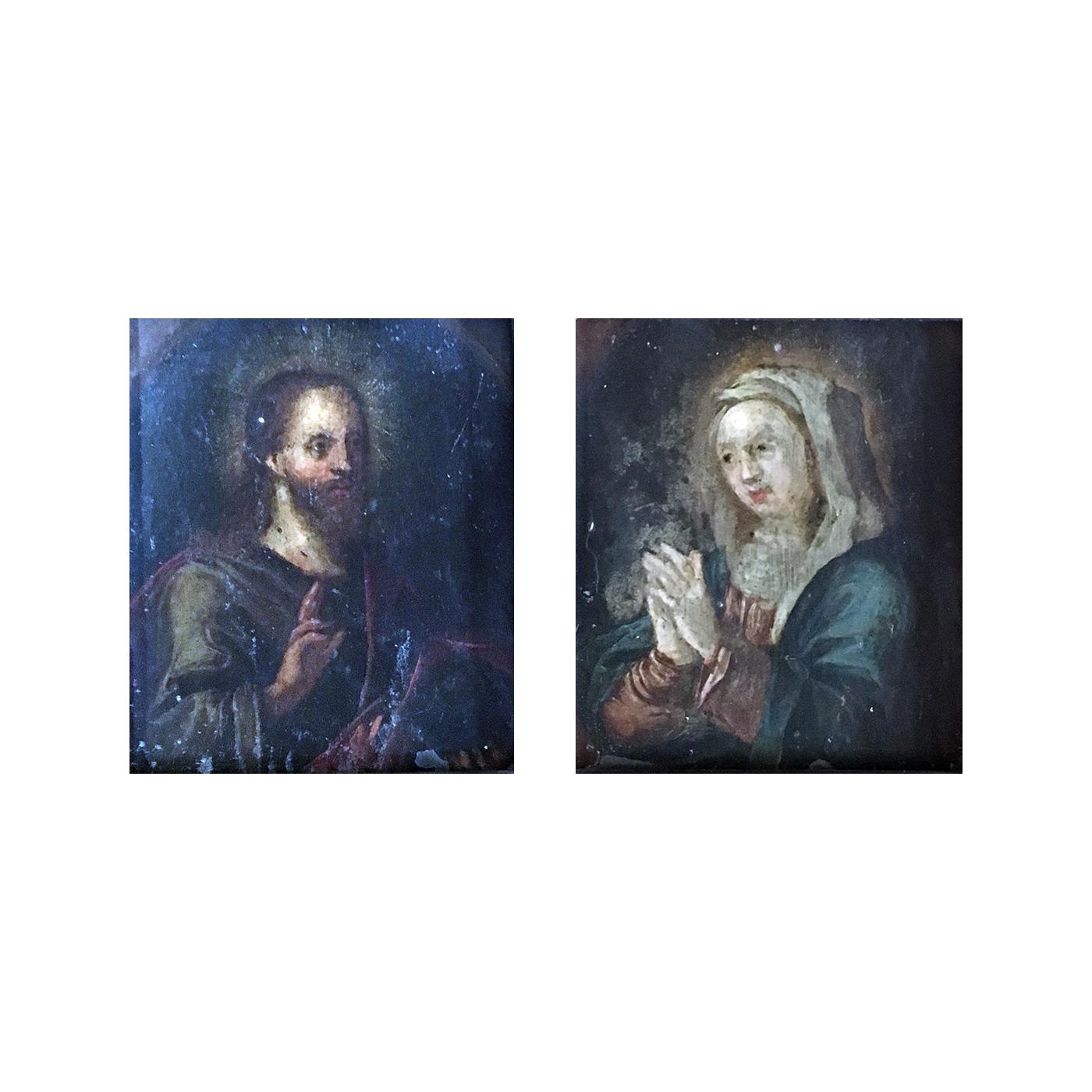 Italian school pair of religious paintings : Jesus and Mary, 1835.