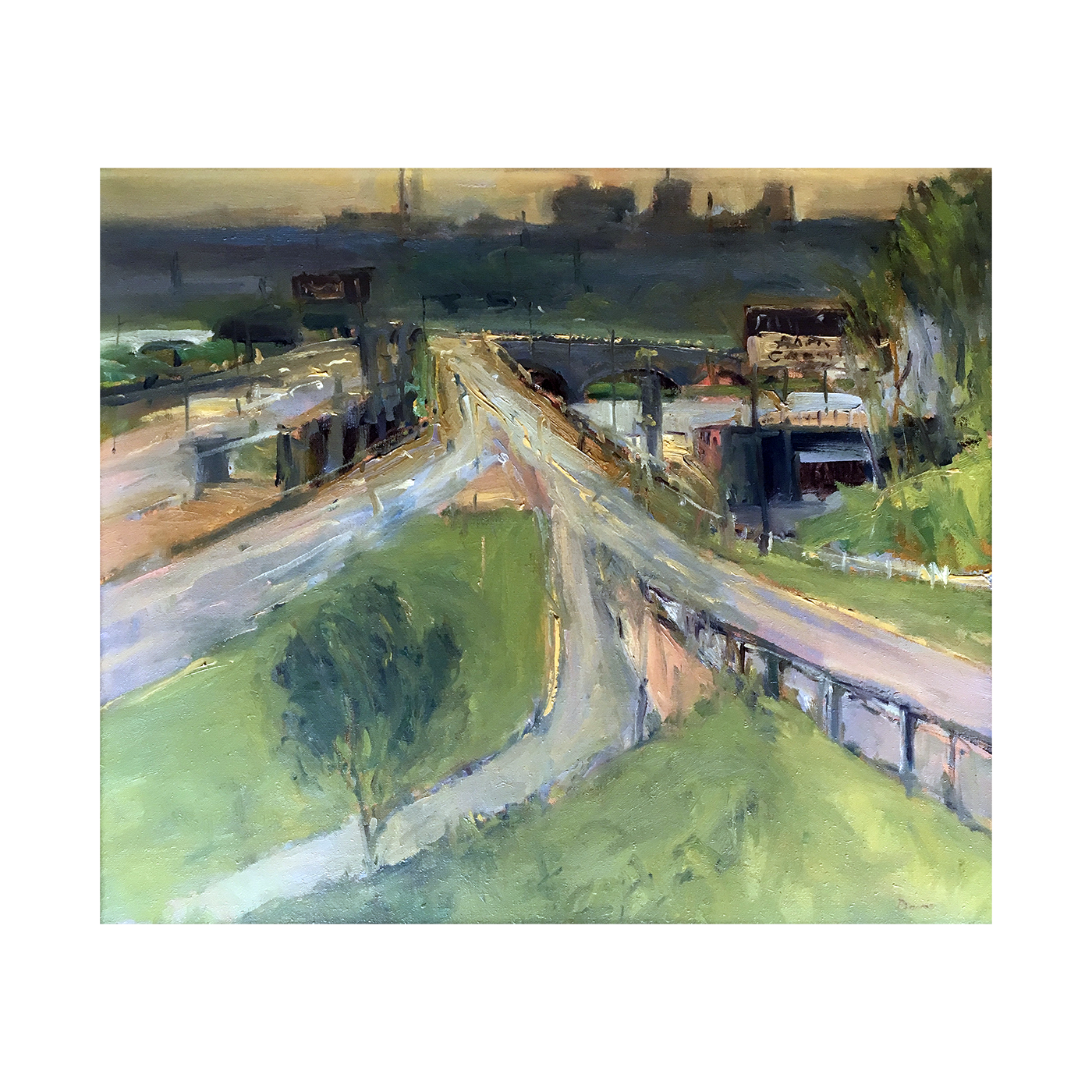 "Michael Davis [1945-  ] Massachusetts modern artist  ""On-Ramp ,I 95"" circa 1980's"