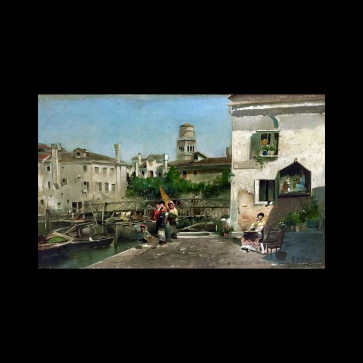"P Mellini [ 19th century] Italian ""People of Venice"" circa 1880"