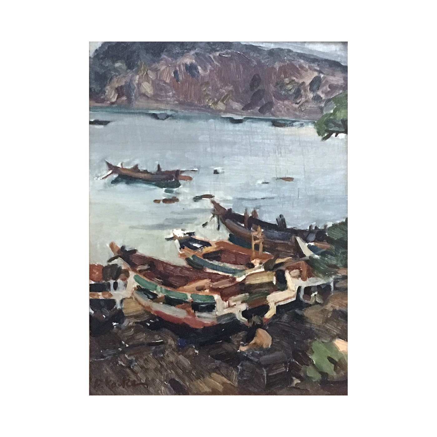 F Koike [20th century]  Japanese : Boats at port, ca.1940's