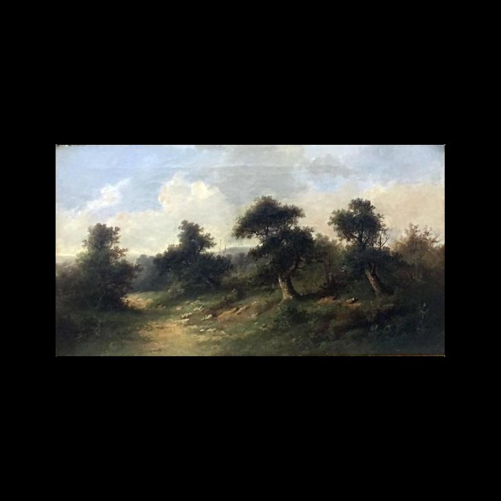 American school : Barbizon landscape, ca.1870.
