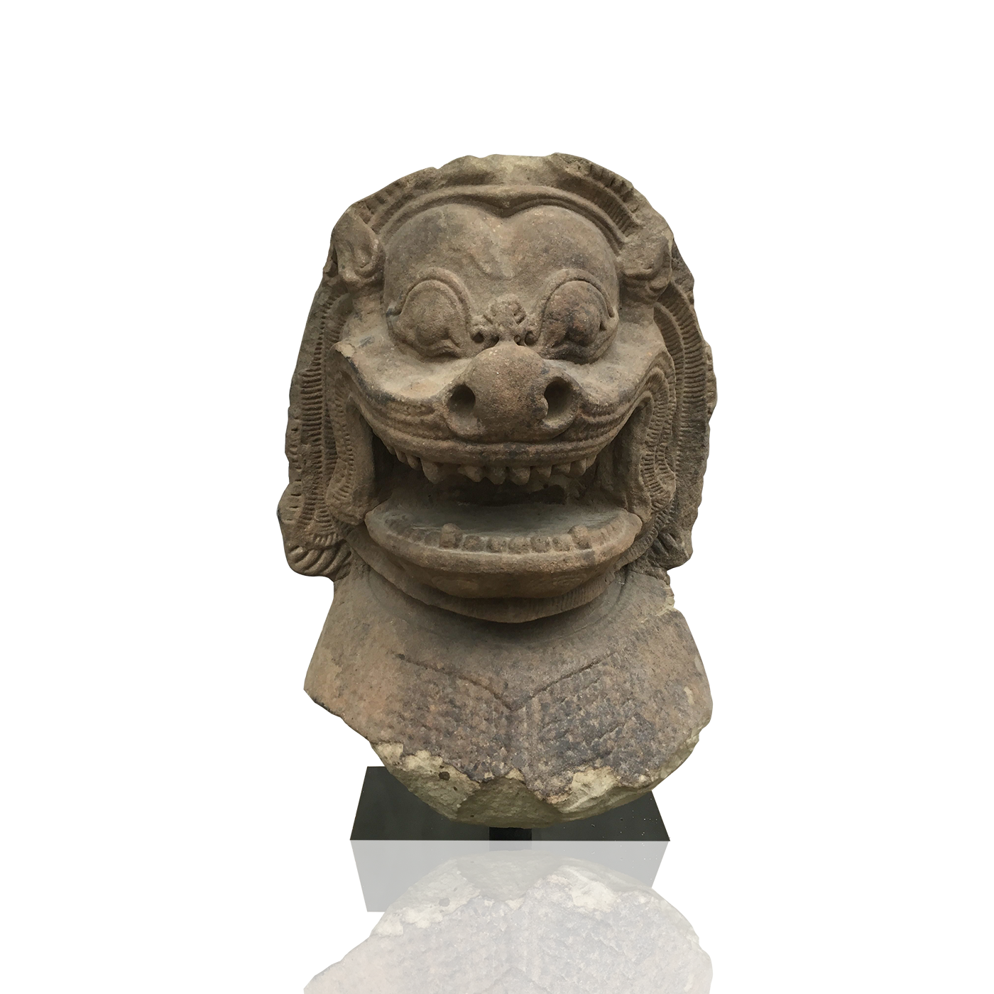East Asian guardian sculpture : Khmer lion head, ca.1200 AD.