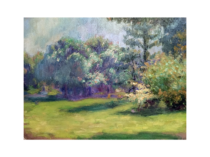 Jean Aujame [1905-1965] French Impressionist Landscape with flowering trees, ca.1930s.