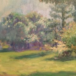"Jean Aujame [1905-1965] French Impressionist ""Landscape with flowering trees"" circa 1930's"