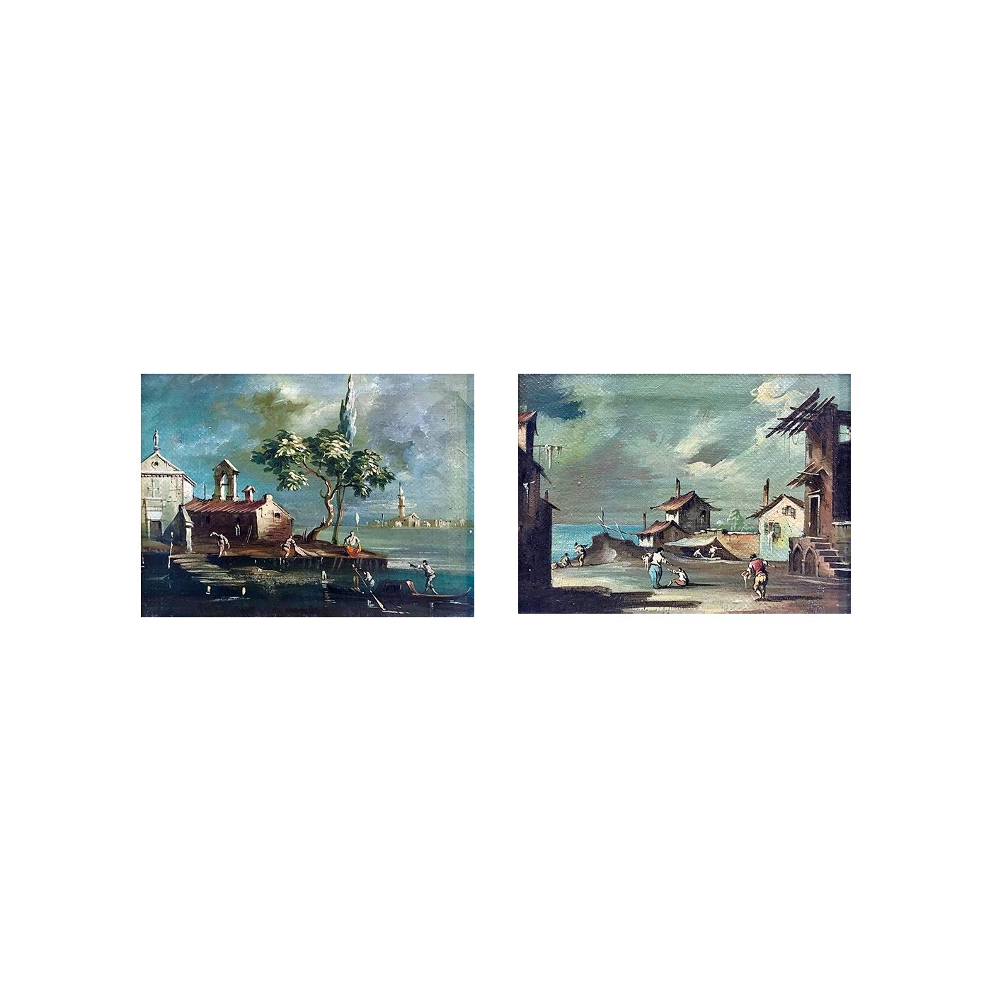 Italian school : Pair of landscapes, ca.1900.