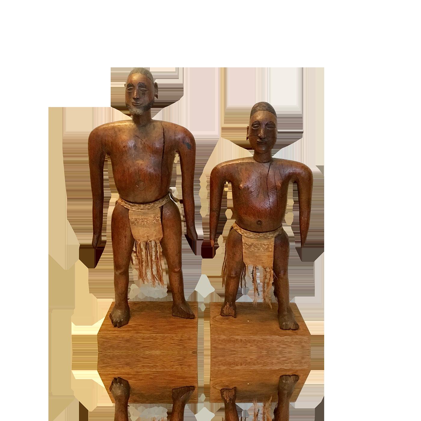 African modernist sculptures : Man and woman, ca.1900.
