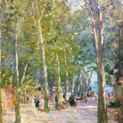 Elie Anatole Pavil [1873 -1948] French / Russian Figures in the park, 1919 Oil on canvas 25 x 21 inches Signed and dated lower right.
