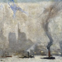 Frank Myers Boggs [1885-1926] American New York harbor,ca.1900. Oil on canvas 13 x 15 inches Signed at lower left.
