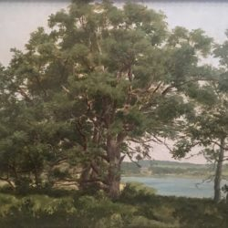 William Huston [1832-1920] American Oaks on Shelter Island, 1897. Oil on board 9 x 12 inches Signed and dated on verso.